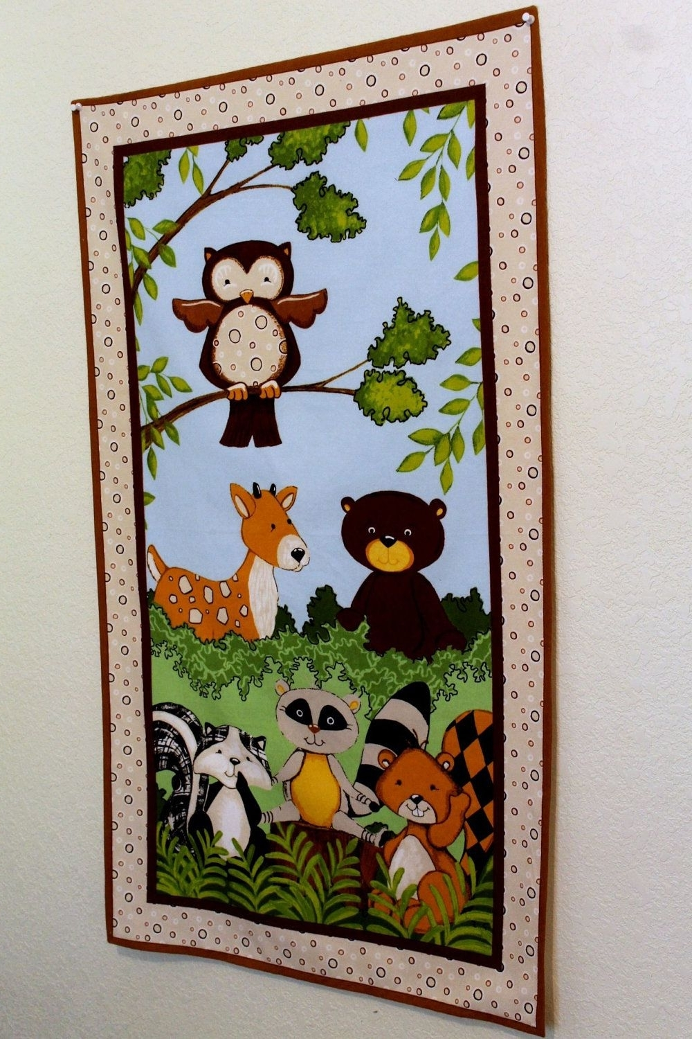 Popular Wall Decor Woodland Animal Forest Creatures Flannel Fabric Panel In Nursery Fabric Wall Art (View 13 of 15)