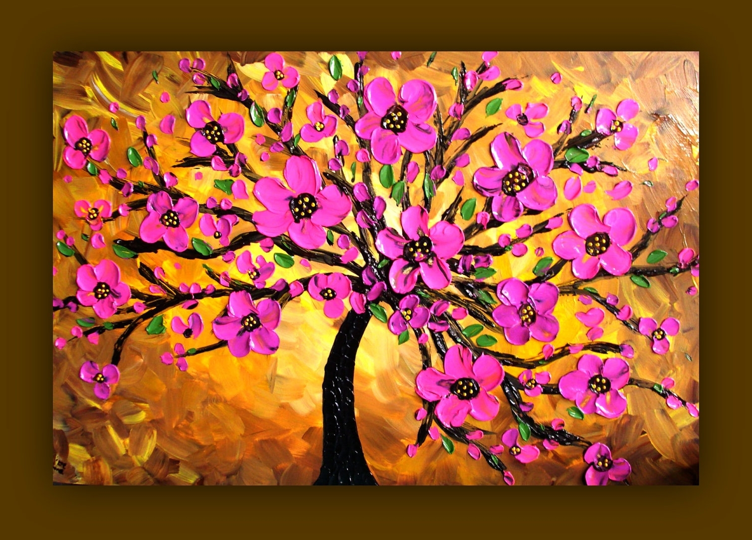 Port Elizabeth Canvas Wall Art Inside Well Liked Pink Flower Painting, Pink Tree Painting, Textured Original (View 9 of 15)