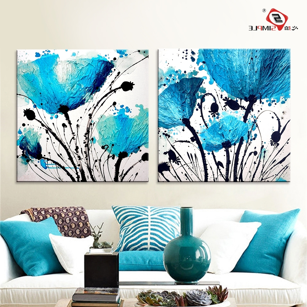 Preferred Blue Canvas Wall Art Pertaining To Oil Painting Wall Art Canvas Prints Abstract Blue Flowers Modern (View 12 of 15)