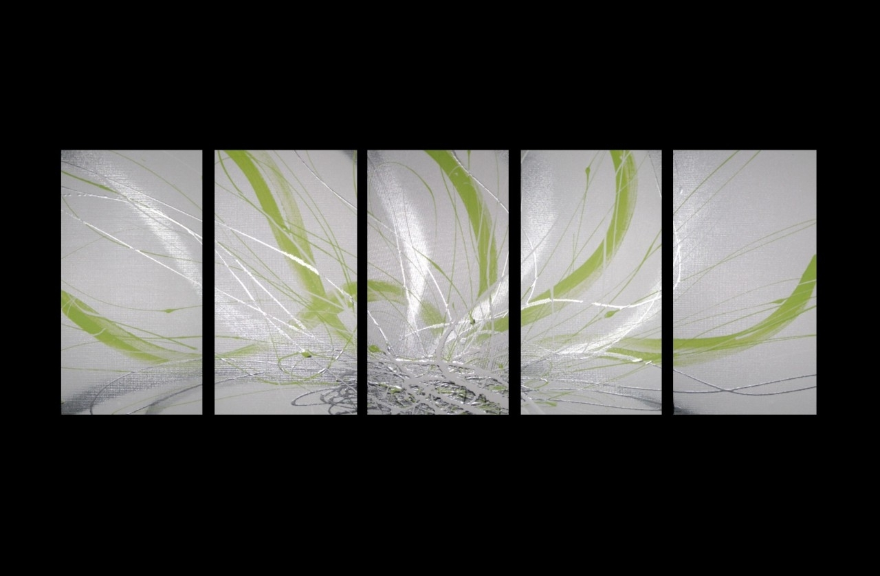 Preferred Canvas Painting Lime Green Silver White Modern Wall Art Artwork With Lime Green Canvas Wall Art (View 12 of 15)
