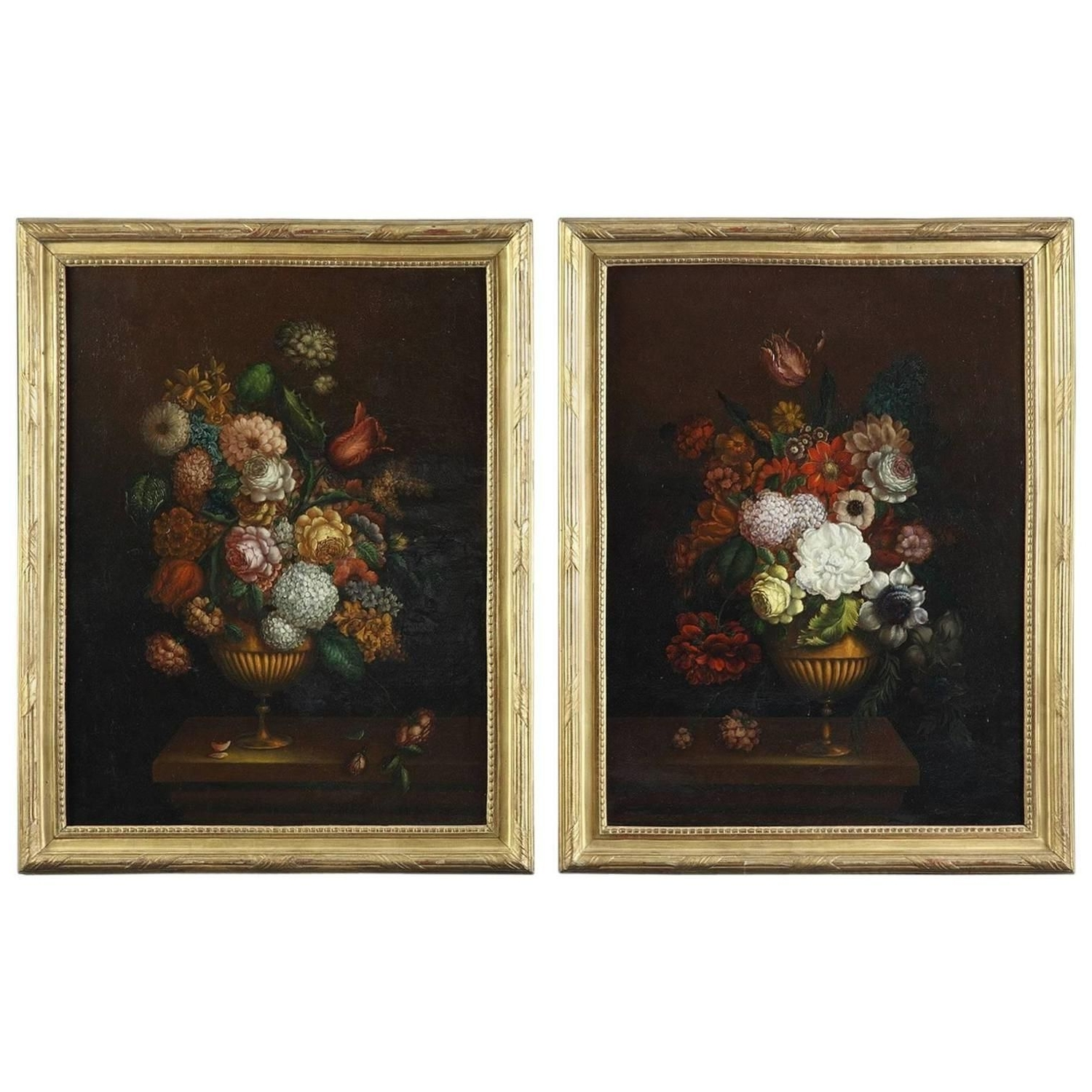 Preferred Canvas Wall Art Pairs Inside Pair Of Oil On Canvas Paintings, Flower Bouquets From 19th Century (View 15 of 15)