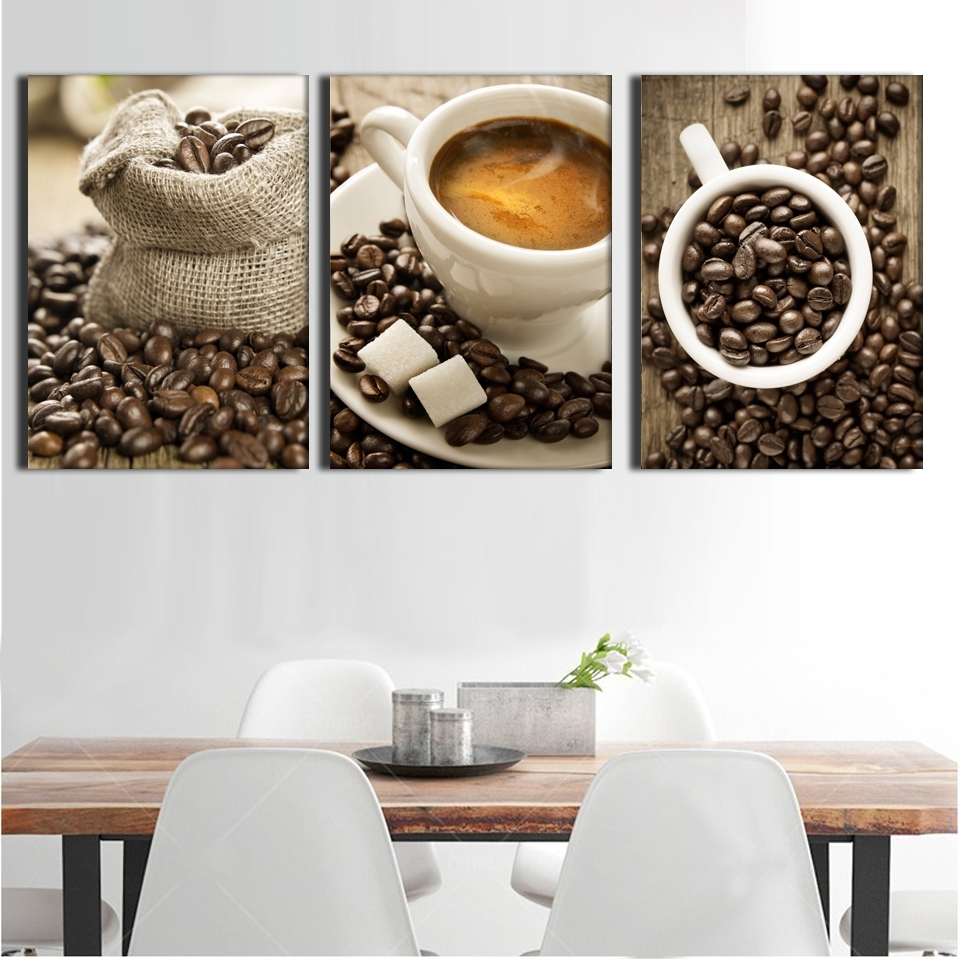 Preferred Coffee Canvas Wall Art Inside 3 Pieces / Set Artistic Coffee On Canvas Painting Wall Painting (View 12 of 15)