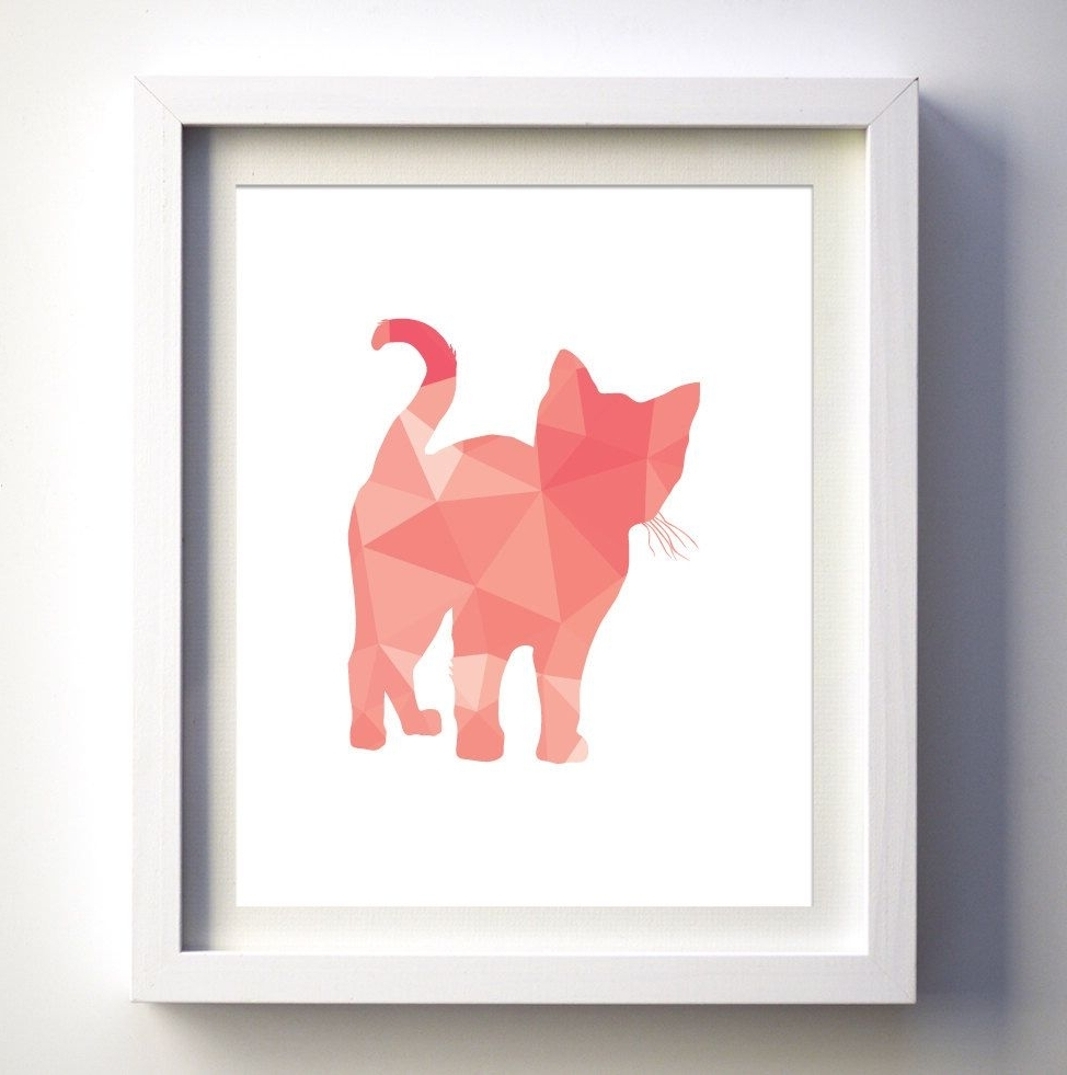 Preferred Coral Pink Kitten Print, Geometric Cat Kitten, Geometric Animal Throughout Framed Animal Art Prints (View 14 of 15)