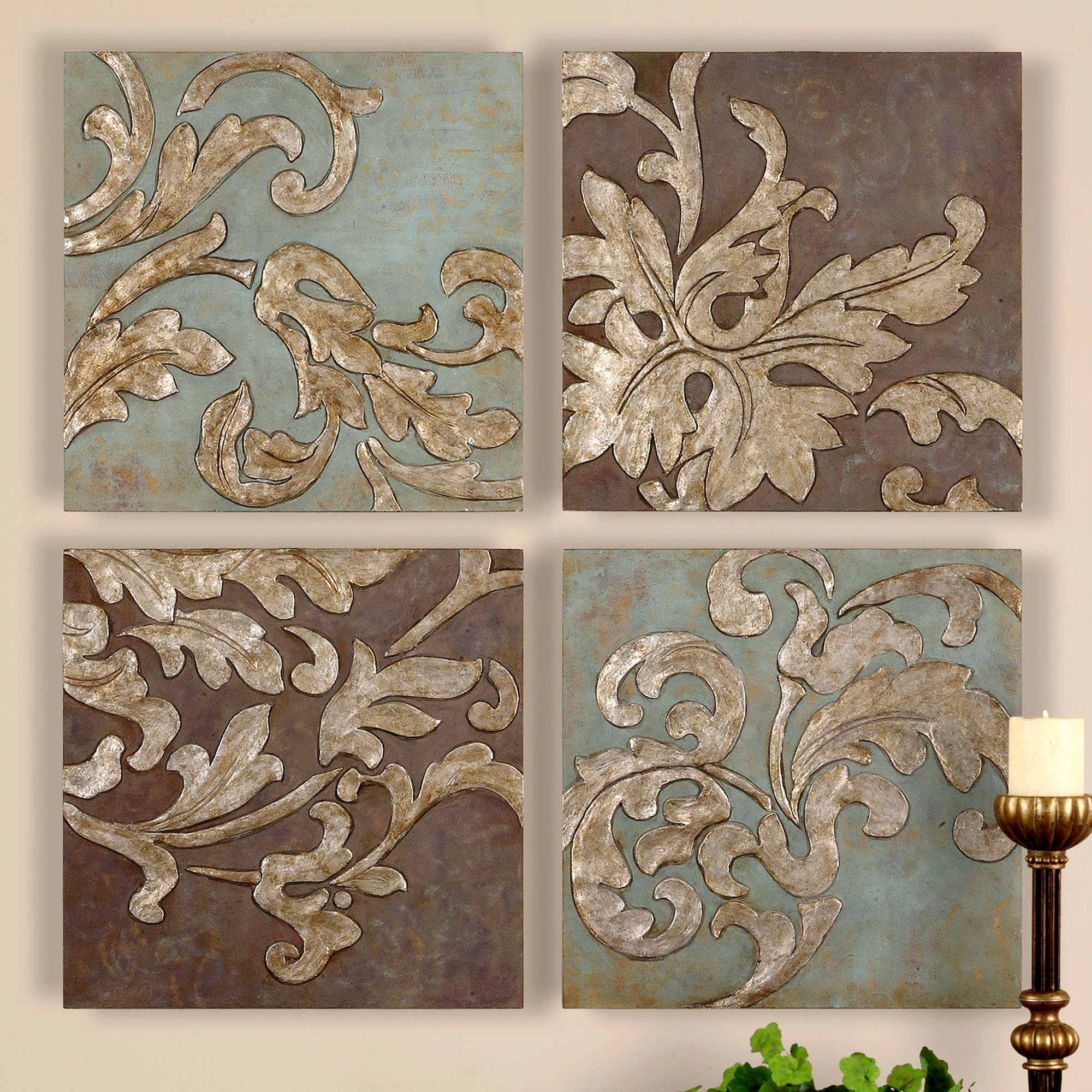 Preferred Damask Fabric Wall Art In Karsyn Wall Art Set Antique Gold Set Of Four; Touchofclass (Gallery 4 of 15)
