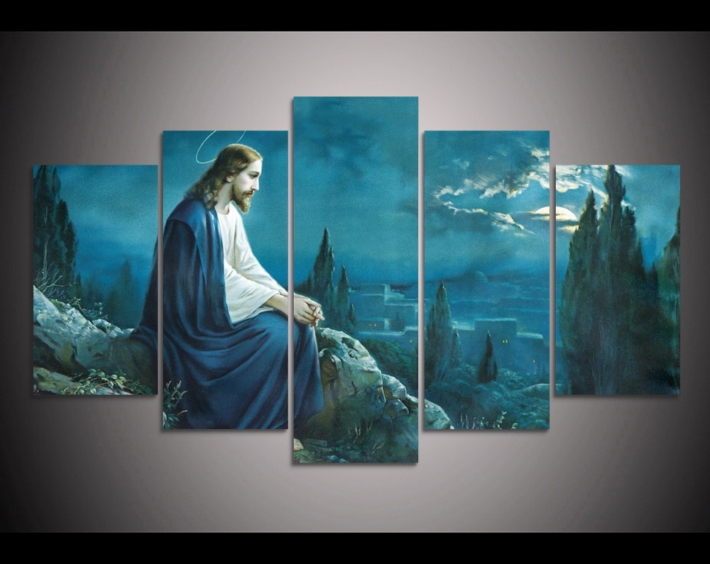Preferred Jesus Canvas Wall Art Throughout 2017 Promotion 5 Pcs Canvas Wall Art Prayer Jesus Gethsemane (View 3 of 15)