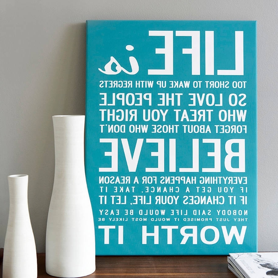 Preferred Life Is Too Short' Quote Print Or Canvasi Love Design Regarding Love Canvas Wall Art (View 9 of 15)