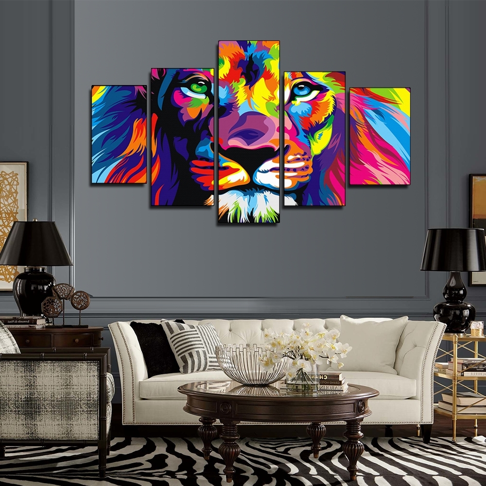 Preferred Lion King Canvas Wall Art With Regard To 5 Pieces Colorful Lion King Oil Painting Animal Art Pictures (View 11 of 15)