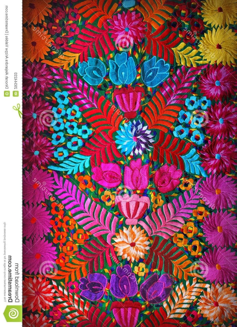 Preferred Mexican Fabric Wall Art Intended For Mexican Floral Embroidery – Download From Over 29 Million High (View 13 of 15)