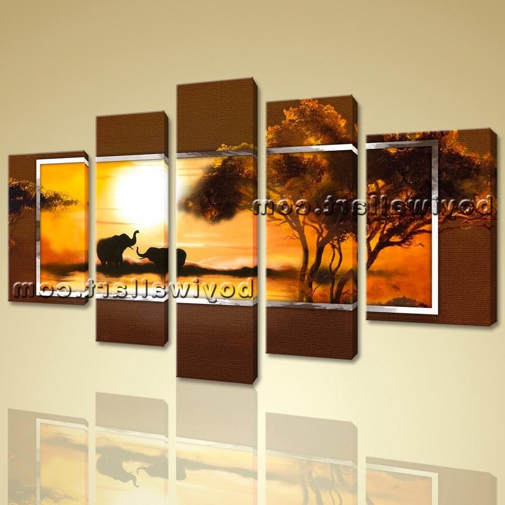 Preferred Modern Canvas Wall Art Regarding Modern Abstract Hd Canvas Wall Art Print Sunset Landscape Elephant (View 13 of 15)