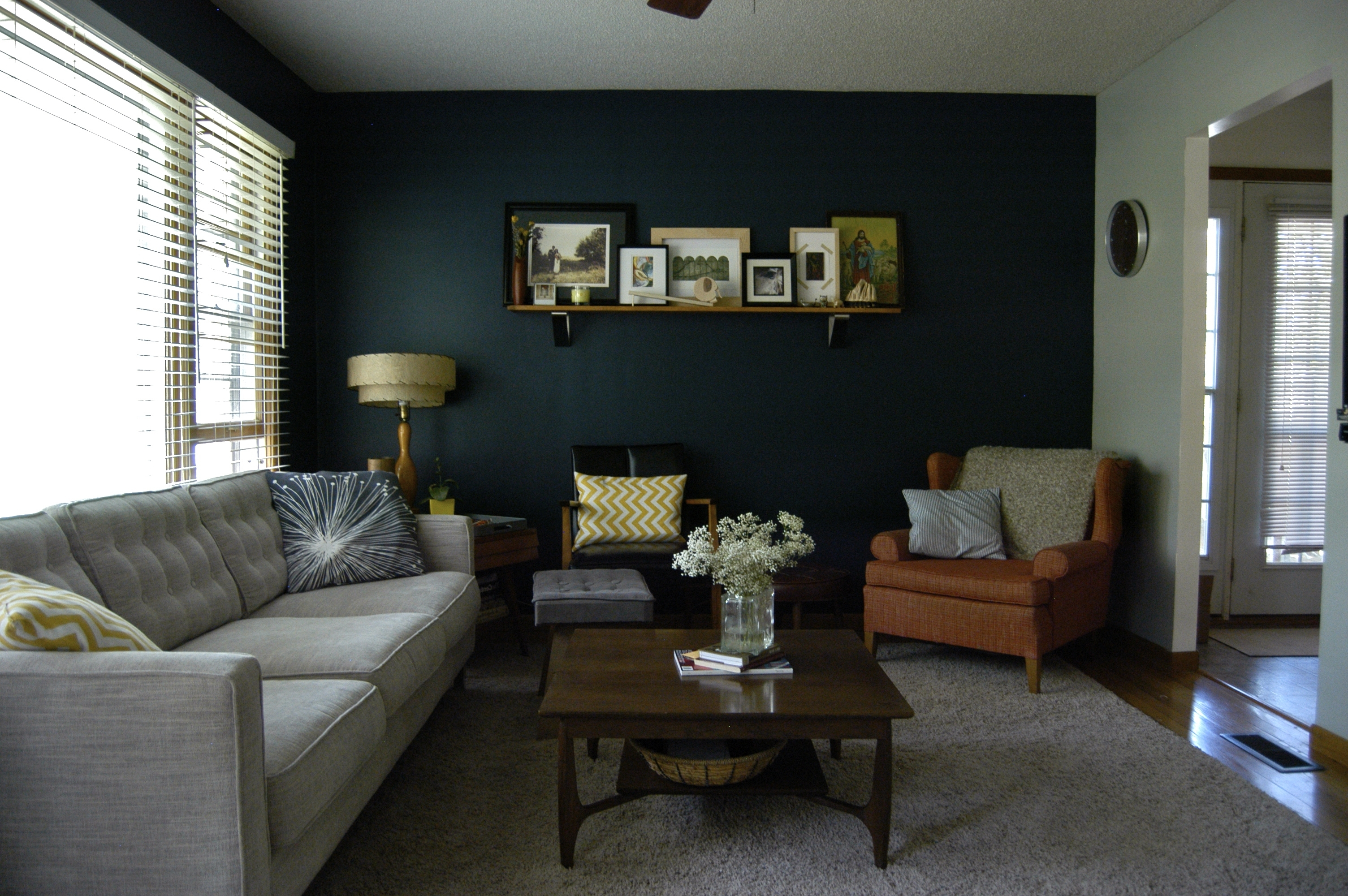 Preferred Navy Wall Accents Regarding Our New Navy Accent Wall! The Other Walls Are A Medium Gray (View 14 of 15)