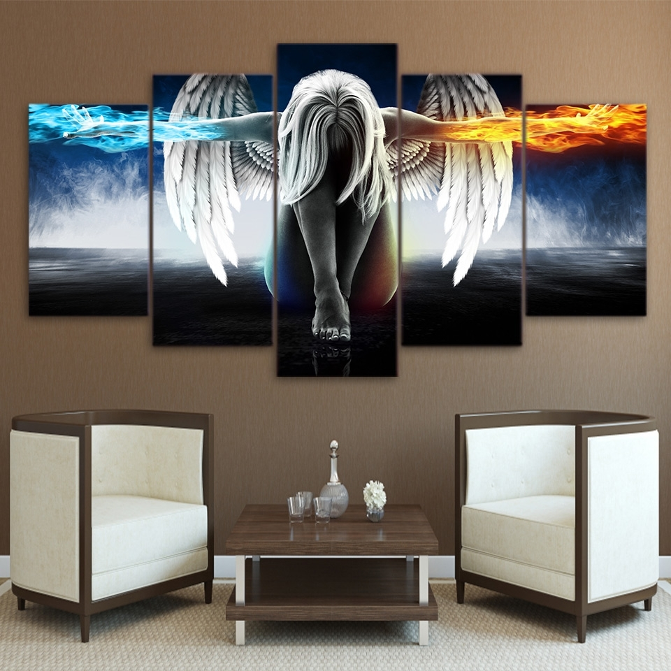 Preferred Printed 5 Piece Canvas Art Angel With Wings Painting Anime Room Throughout Anime Canvas Wall Art (View 13 of 15)