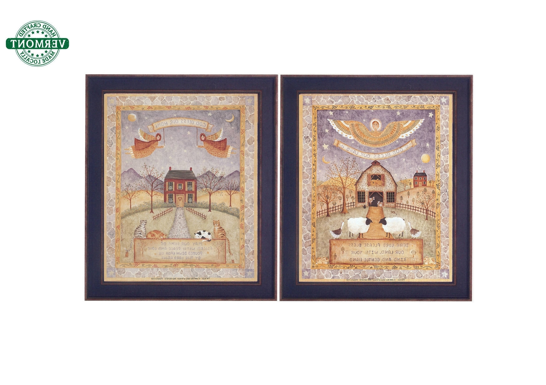 Preferred Set Of 2 Vintage Framed Folk Art Prints God Bless Our Home With Framed Folk Art Prints (View 14 of 15)