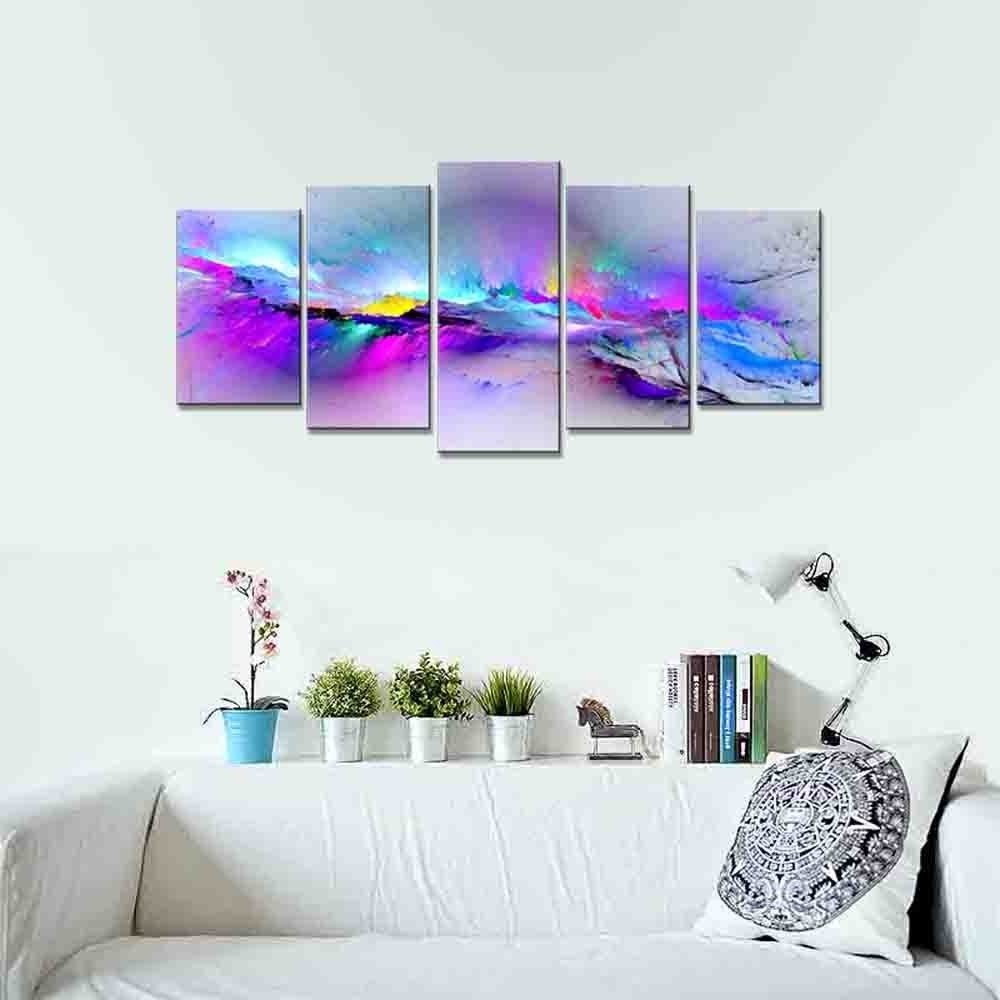Preferred Wieco Art – Changing Colors Giclee Canvas Prints 5 Panels Modern Within Calgary Canvas Wall Art (View 12 of 15)