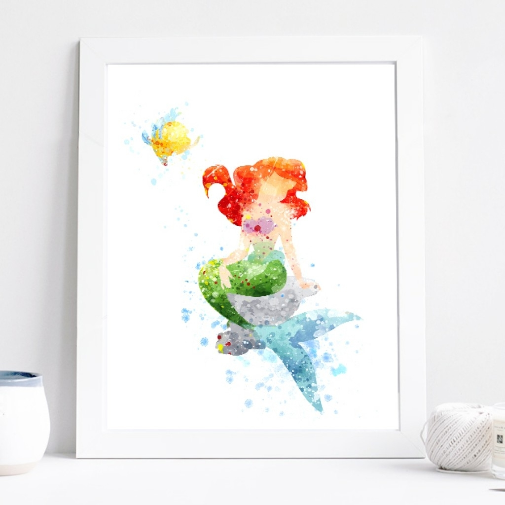 Princess Ariel Poster – Watercolor Art Print, Disney Little Intended For Trendy Disney Framed Art Prints (Gallery 12 of 15)