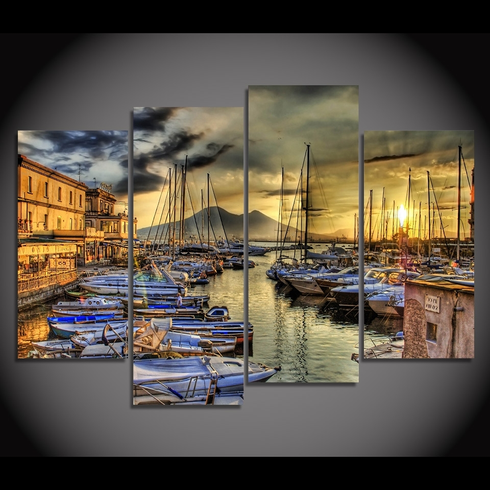 Print Canvas Painting Naples Italy Sea Pier Wharf Boat Wall Art In Most Current Canvas Wall Art Of Italy (View 13 of 15)