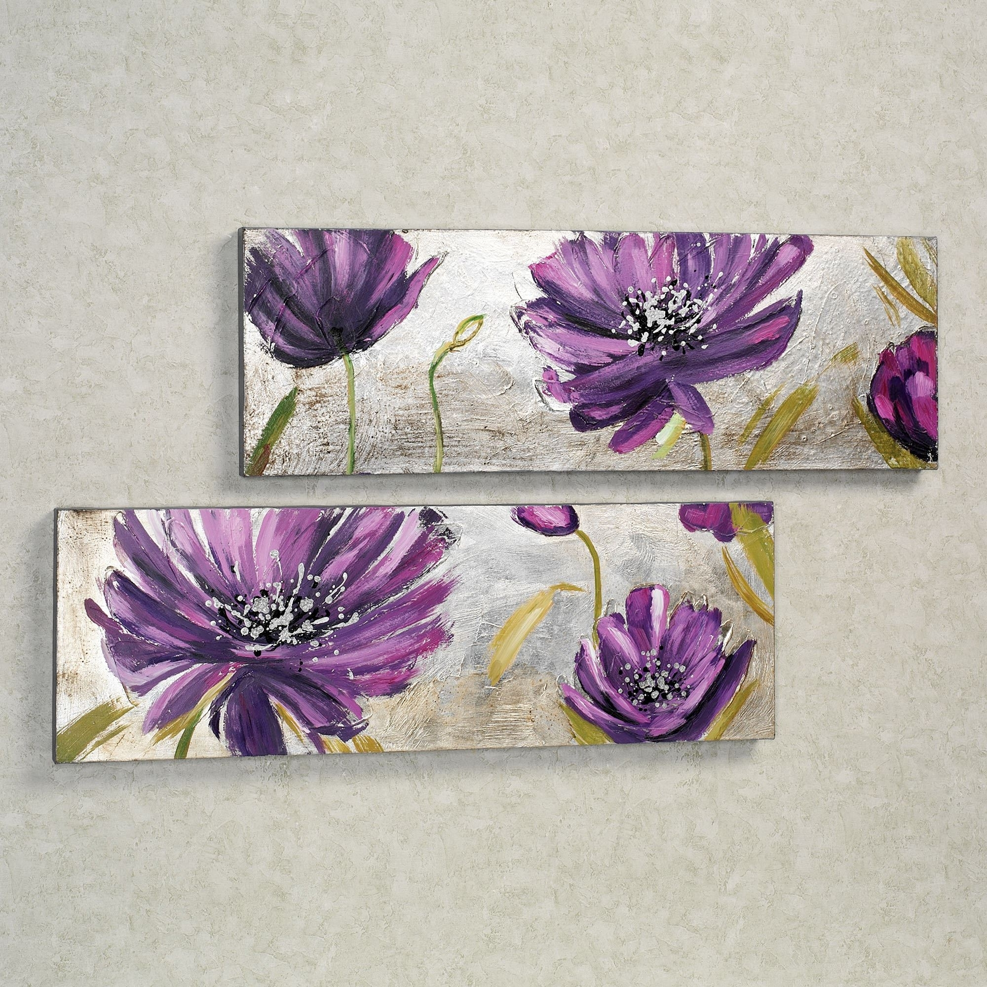 Purple Allure Floral Canvas Wall Art Set For Fashionable Purple Flowers Canvas Wall Art (View 2 of 15)
