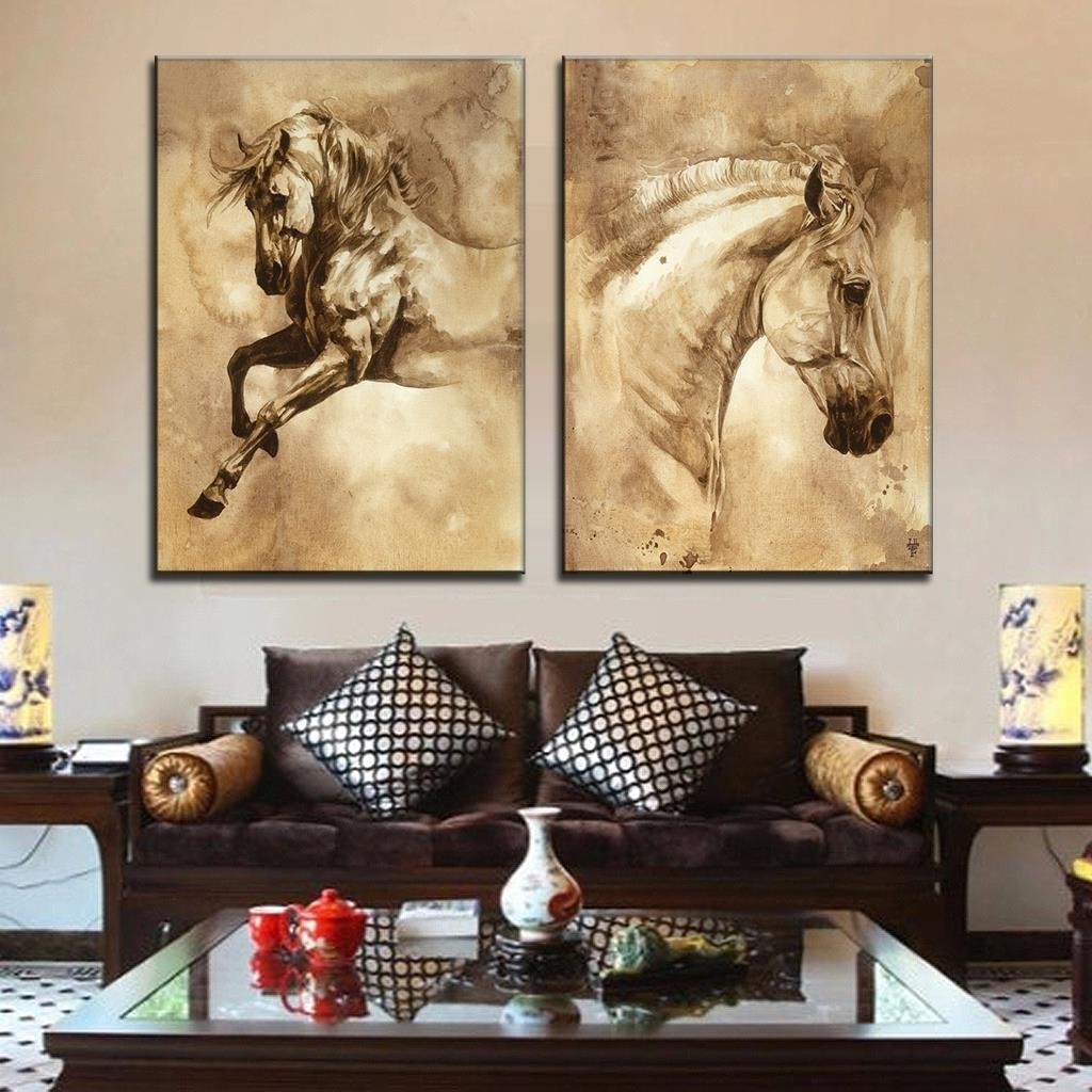 Queensland Canvas Wall Art Intended For Most Current 2 Pcs/set Modern European Oil Painting Horse On Canvas Wall Art (View 5 of 15)