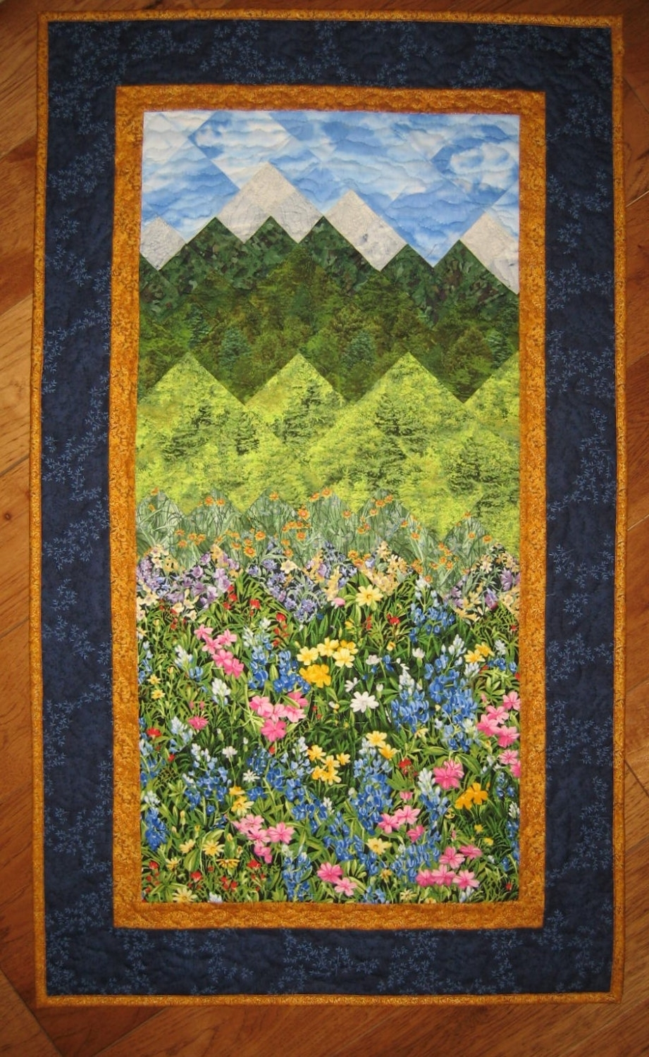 Quilt Fabric Wall Art Pertaining To Fashionable Summer Flowers And Mountains Art Quilt Fabric Wall Hanging Quilted (Gallery 2 of 15)