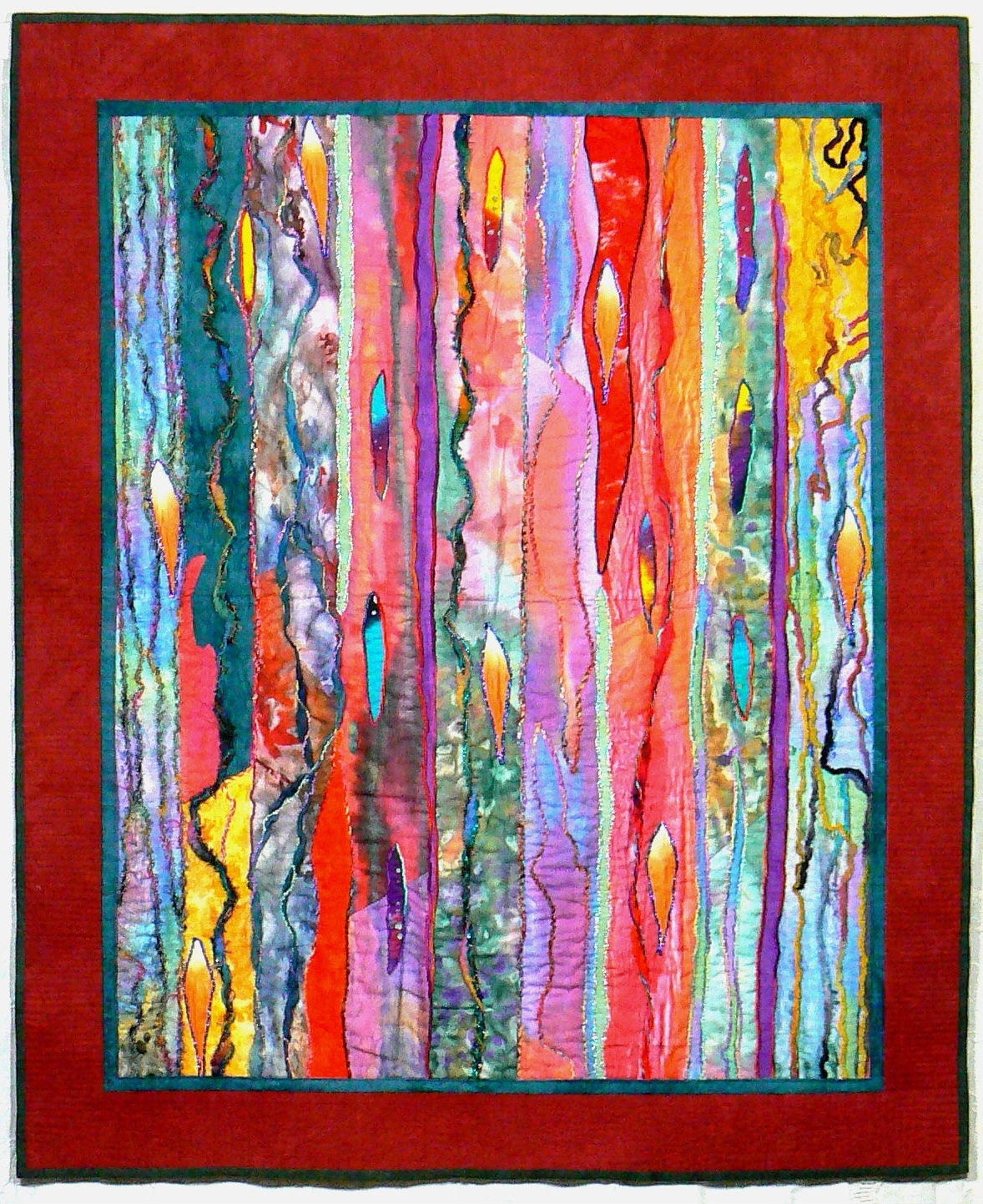Quilt Fabric Wall Art With Regard To Newest Fiber Art Quilt, Art Wall Hanging, Contemporary Quilt, Modern Art (View 4 of 15)