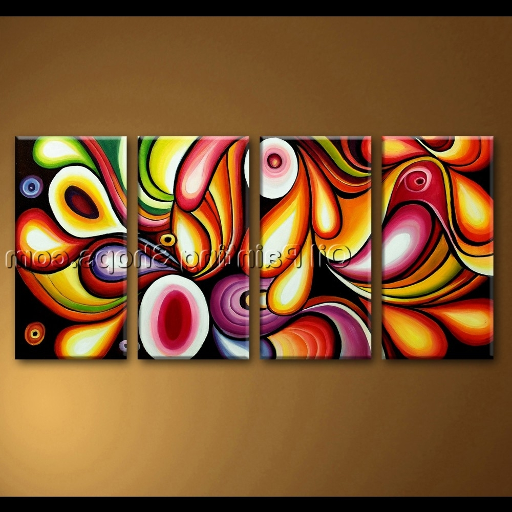 Rainbow Canvas Wall Art With Latest Large Canvas Wall Art Rainbow Colorful Abstract Painting (View 11 of 15)