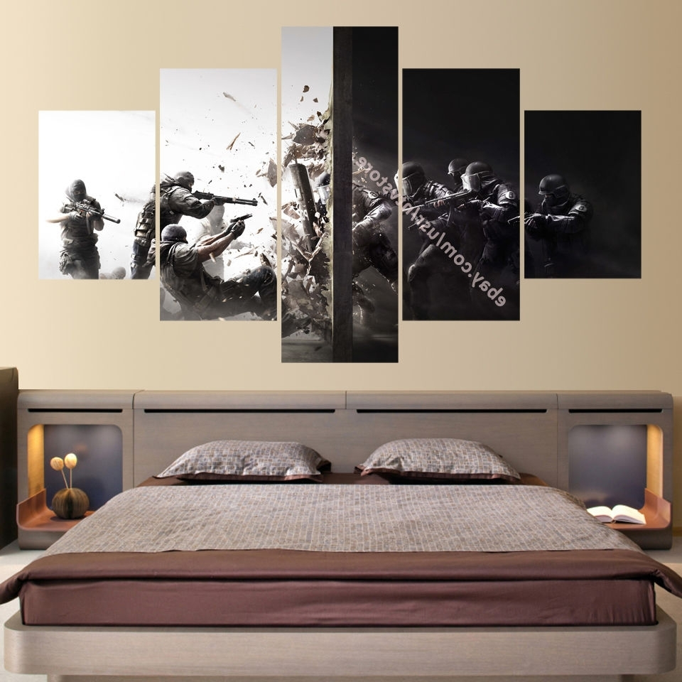 Rainbow Canvas Wall Art Within 2018 Rainbow Six 5 Piece Canvas Wall Art Print Home Decor Counter (Gallery 11 of 15)