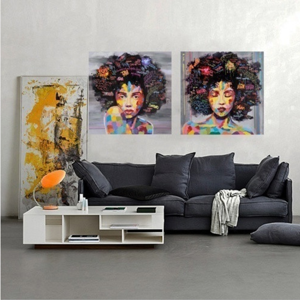 Rakuten: 2Pcs/set Colorful Girl Portrait Canvas (View 5 of 15)