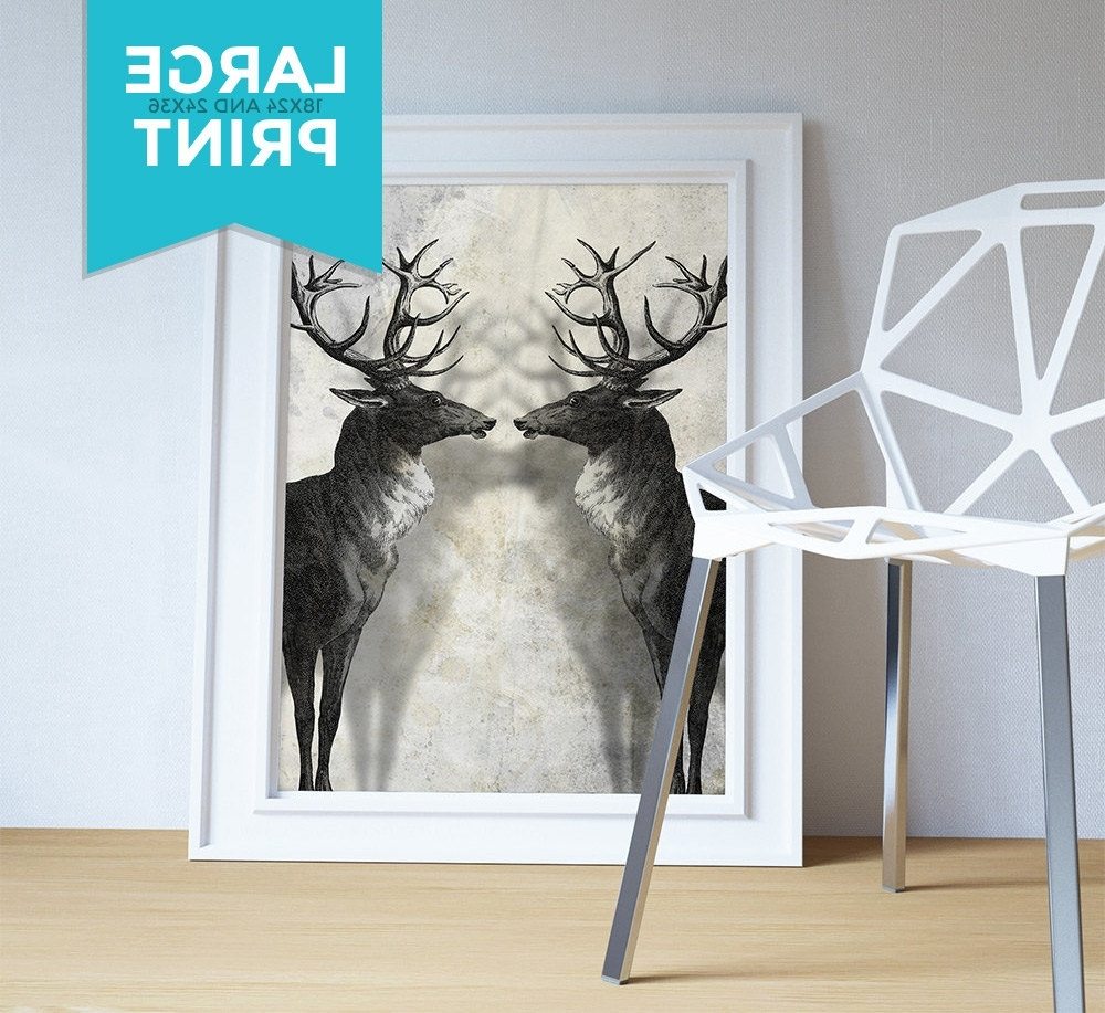 Recent Deer Canvas Wall Art Throughout Deer Print Deer Antlers Stag Print Wall Art – Giclee Print On (Gallery 15 of 15)