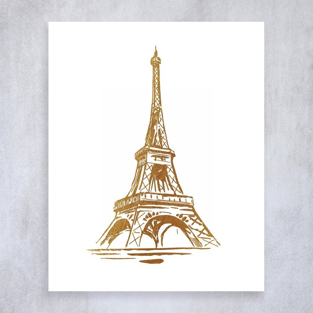 Recent Eiffel Tower Gold Foil Print Wall Art Poster Paris Home Decor Pertaining To Eiffel Tower Canvas Wall Art (View 12 of 15)