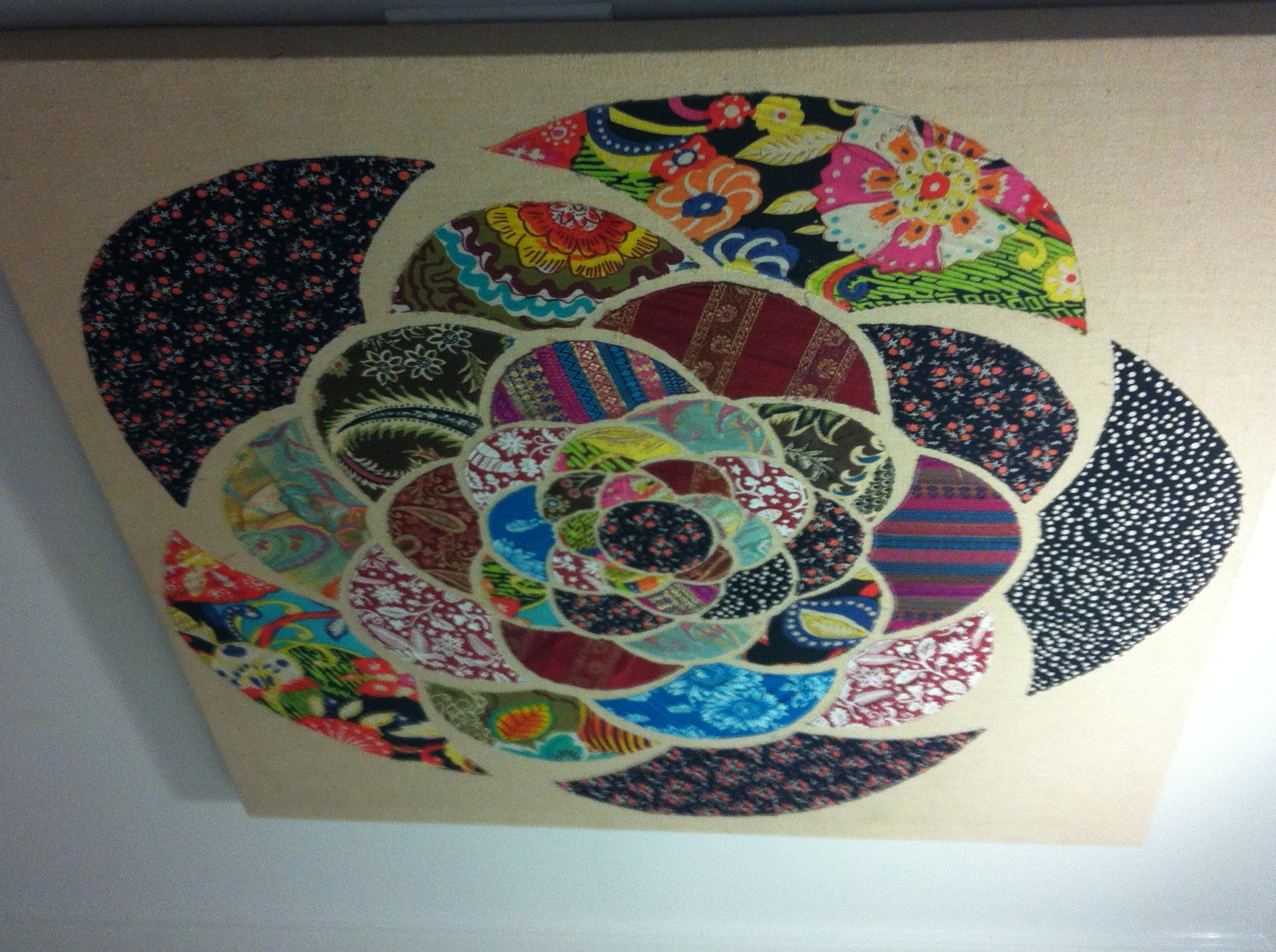 Recent Fabric Circle Wall Art Pertaining To Use Scraps Of Fabric To Make A Large Wall Art On Canvas (View 11 of 15)