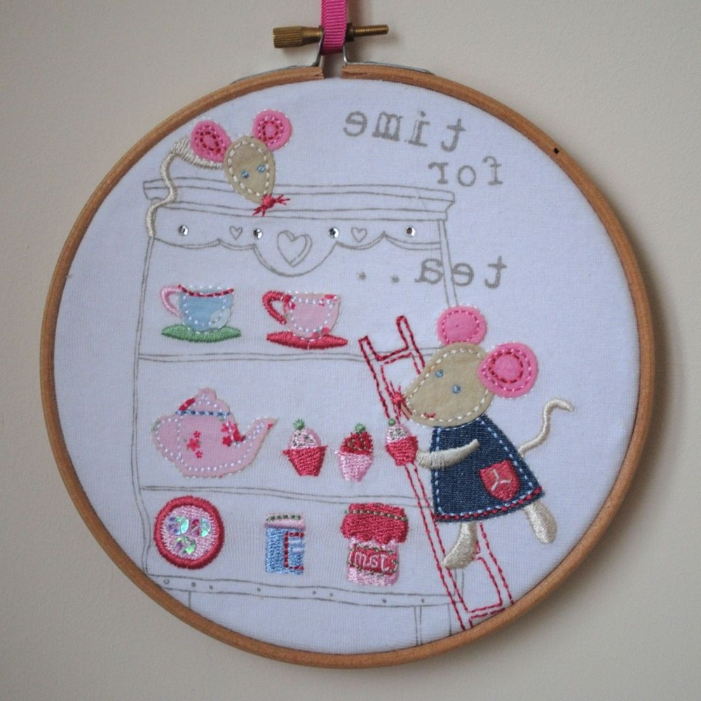 Recent Fabric Hoop Wall Art Intended For Time For Tea – Mice Afternoon Tea Applique Embroidery Hoop Wall (View 14 of 15)