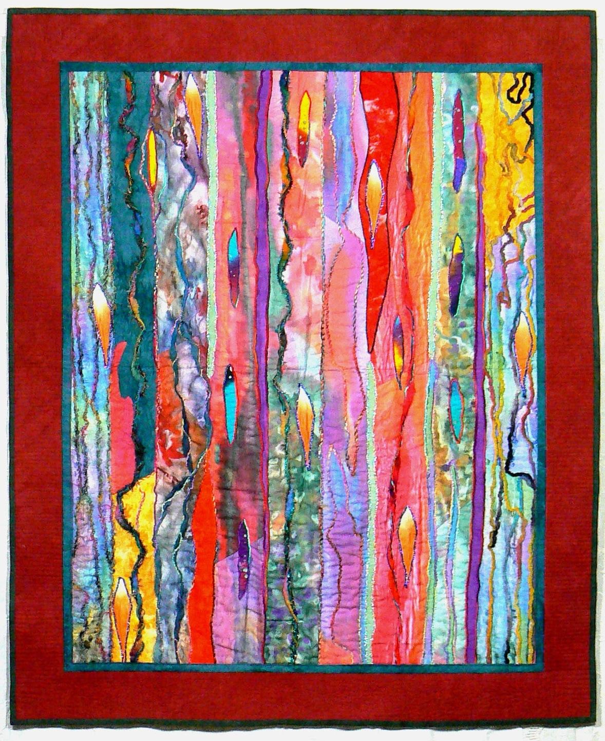 Recent Fiber Art Quilt, Art Wall Hanging, Contemporary Quilt, Modern Art Regarding Modern Fabric Wall Art (Gallery 5 of 15)