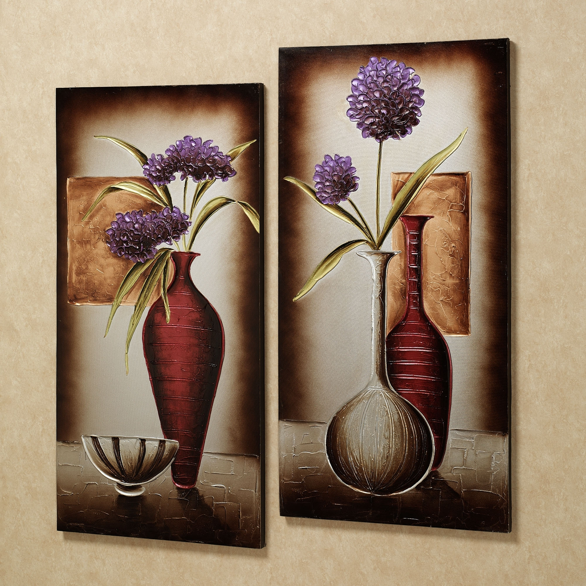 Recent Floral Tranquility Canvas Art Set Purple Set Of Two (Gallery 10 of 15)