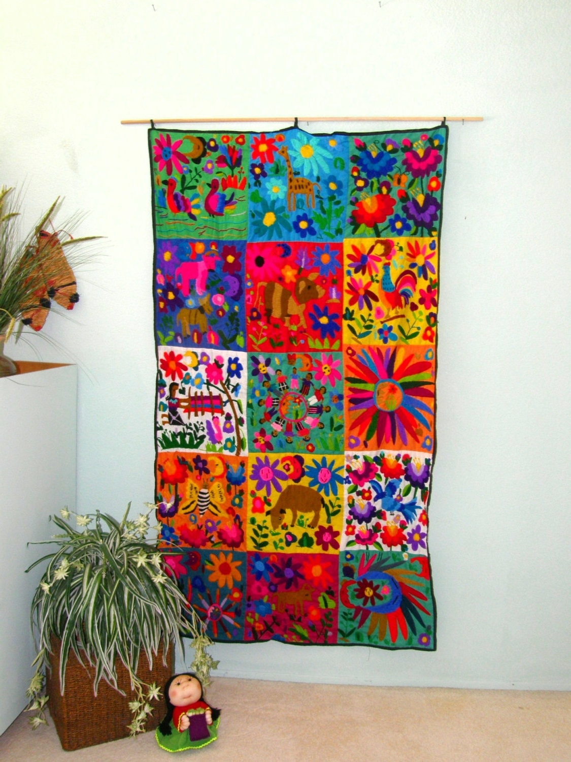 "Recent Hand Embroidered Mexican Wall Hanging – 40"" X 70"" – Mexican Folk Throughout Textile Wall Art (View 11 of 15)"