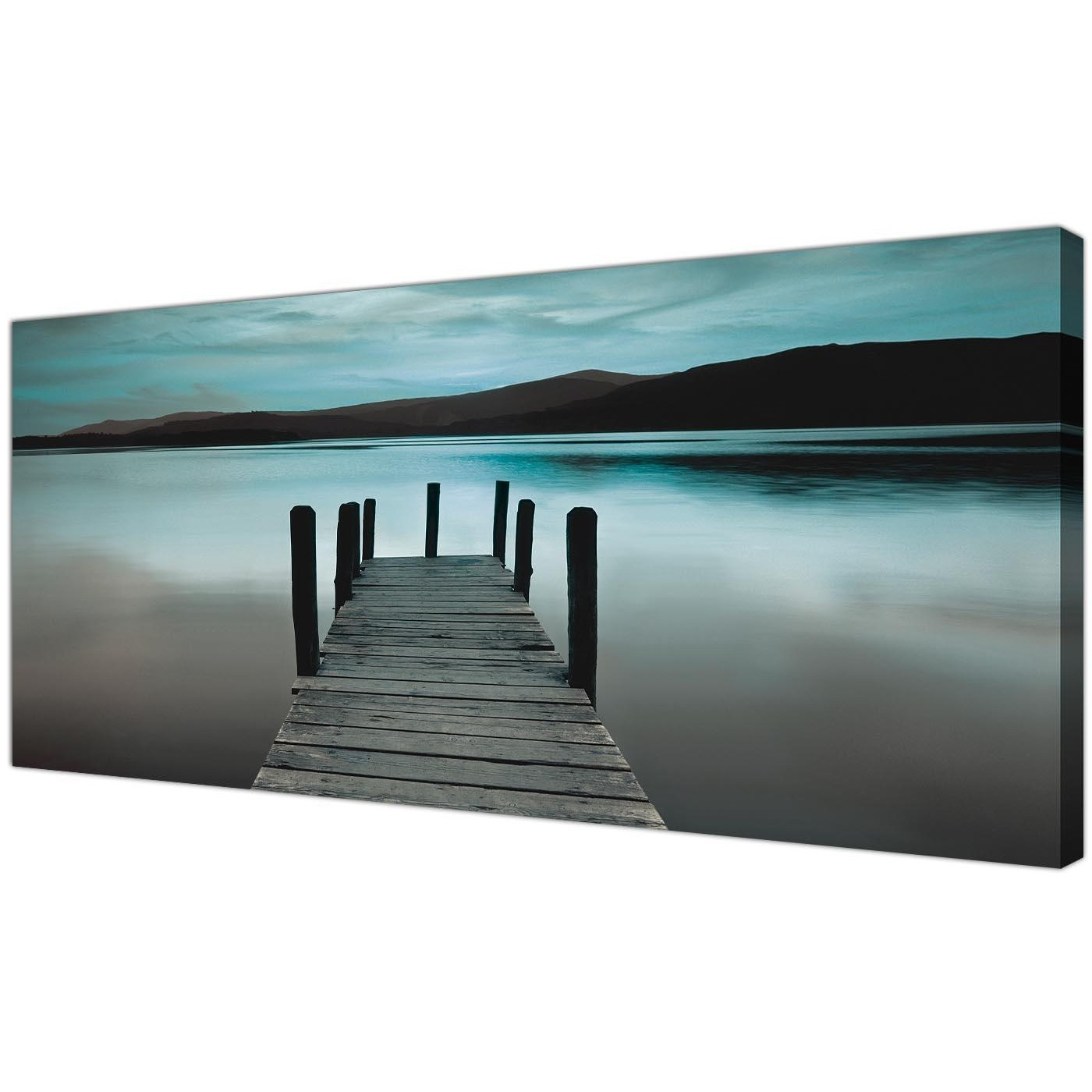 Recent Jetty Canvas Wall Art Inside Modern Teal Derwent Water Lake Canvas Print (Gallery 7 of 15)