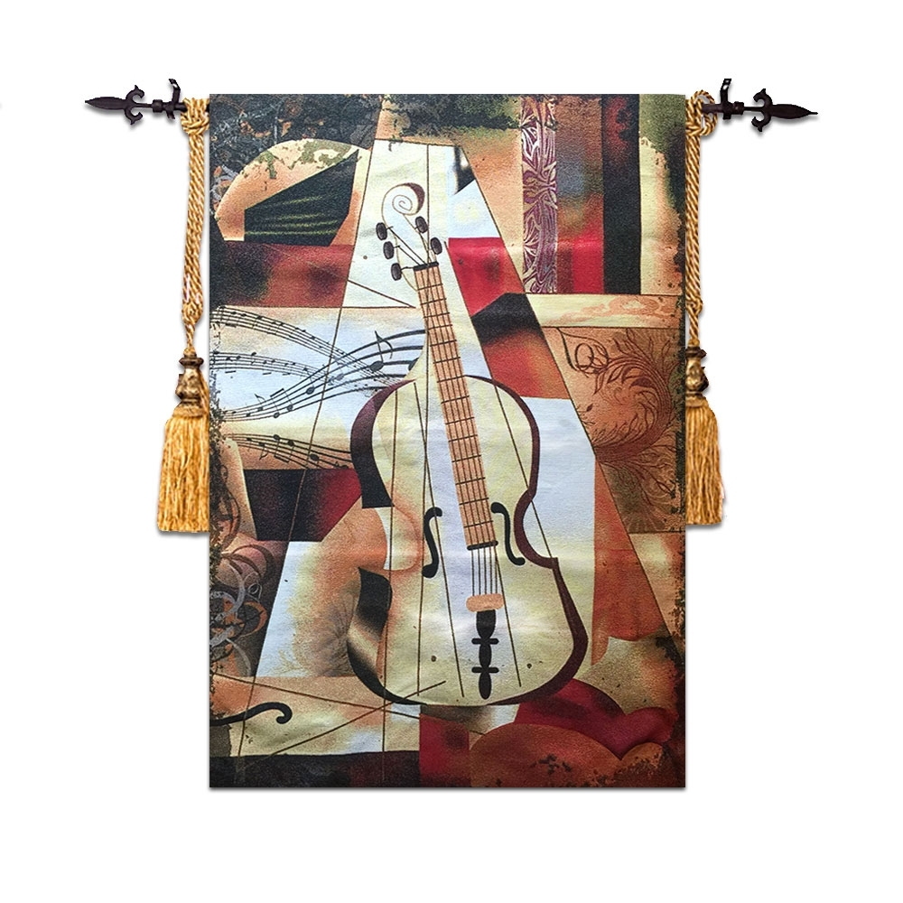 Recent Moroccan Fabric Wall Art Regarding 58*90Cm High Quality Violin Wall Tapestry Wall Hanging Moroccan (View 9 of 15)