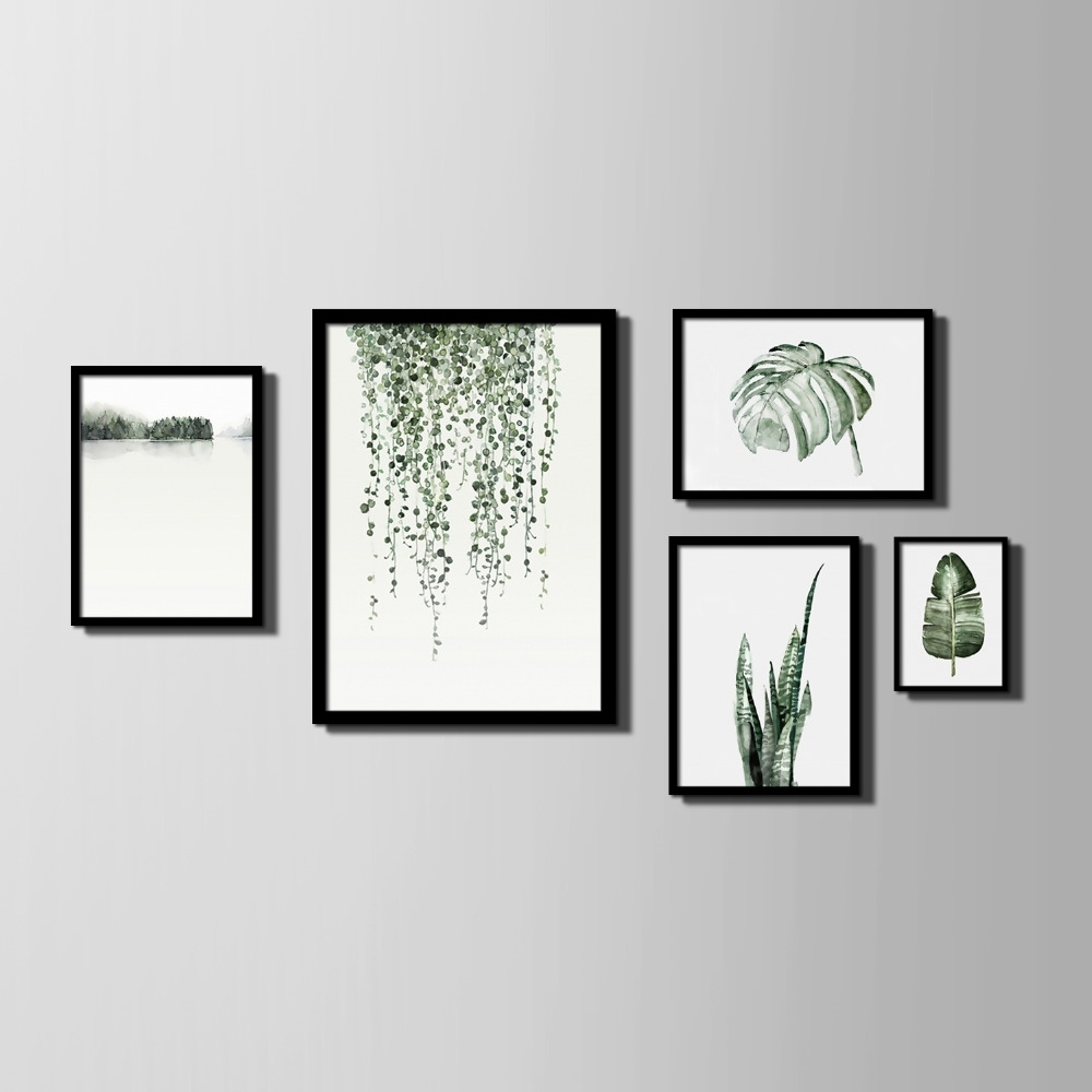 Recent Nordic Style Art Print Framed Canvas Painting Art Green Leaves Regarding Framed Art Prints (Gallery 3 of 15)