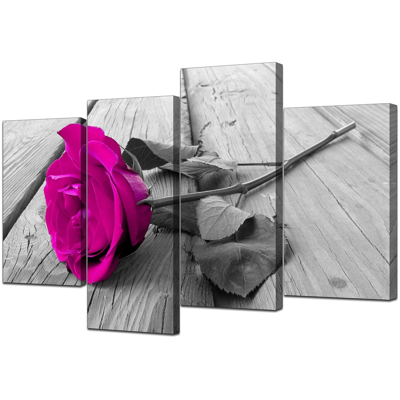 Recent Pink Canvas Wall Art With Regard To Canvas Prints Of Pink Rose In Black & White For Your Bedroom (View 12 of 15)