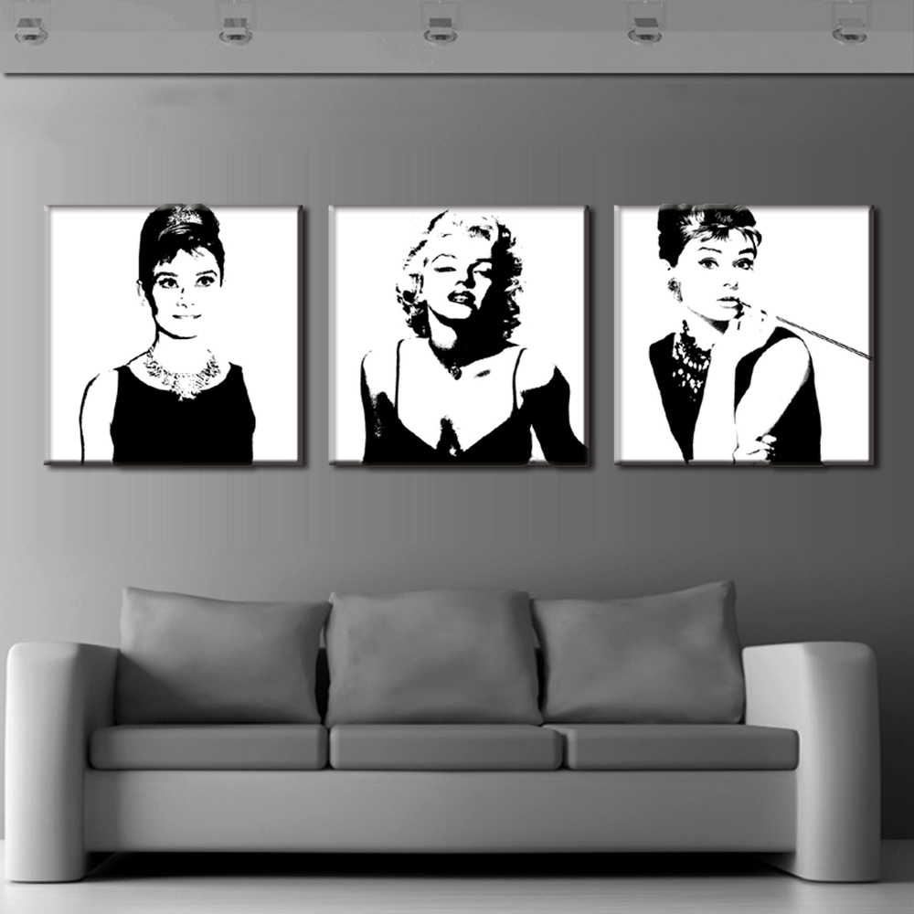 Recent Portrait Canvas Wall Art Inside 3 Pcs Vintage Poster Portrait Oil Painting Canvas Wall Art Picture (Gallery 2 of 15)