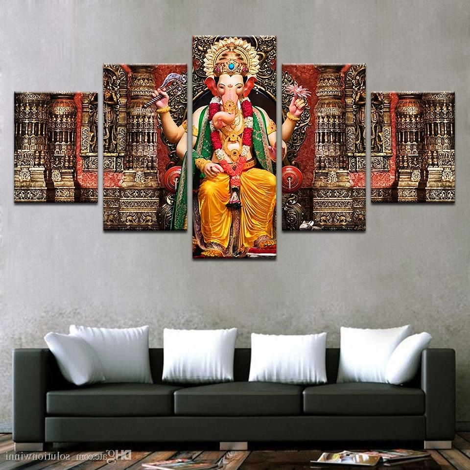 Recent Religious Canvas Wall Art Pertaining To 2018 Canvas Pictures Hd Prints Wall Art India Religion Elephant (View 7 of 15)