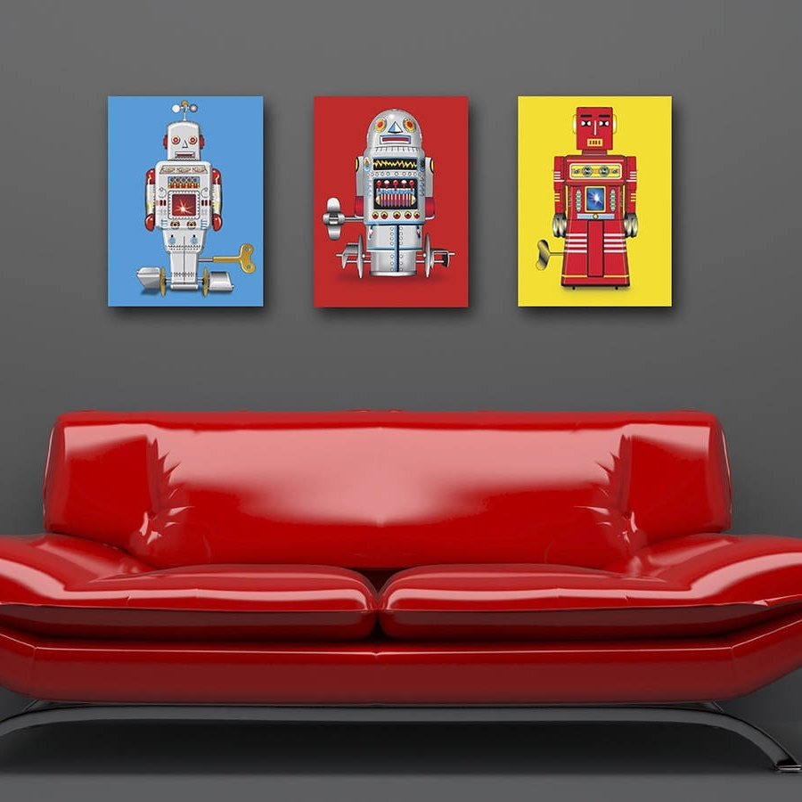 Recent Robot Canvas Wall Art Intended For Sparking Robot Pop Art Canvas Printglyn West Design (View 5 of 15)