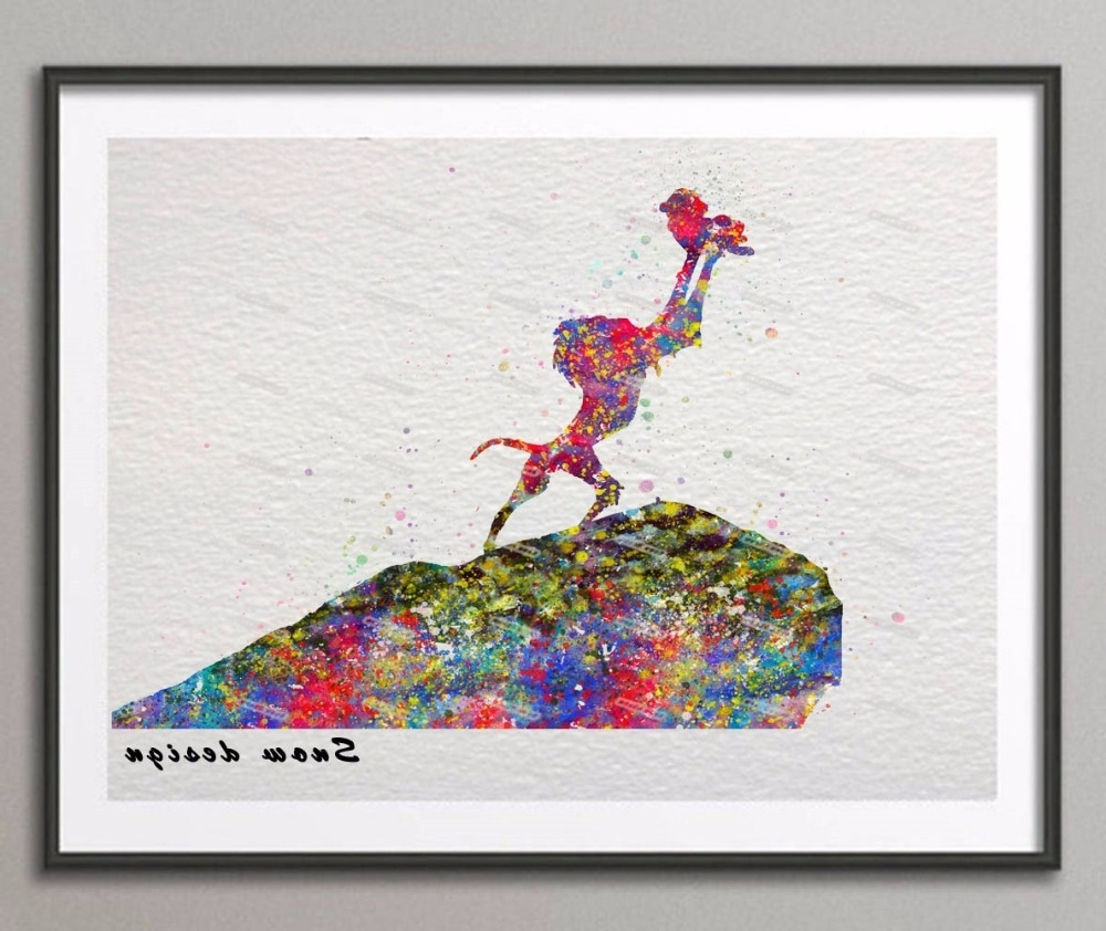 Recent The Lion King Rafiki Simba Original Watercolor Canvas Painting With Lion King Canvas Wall Art (View 13 of 15)