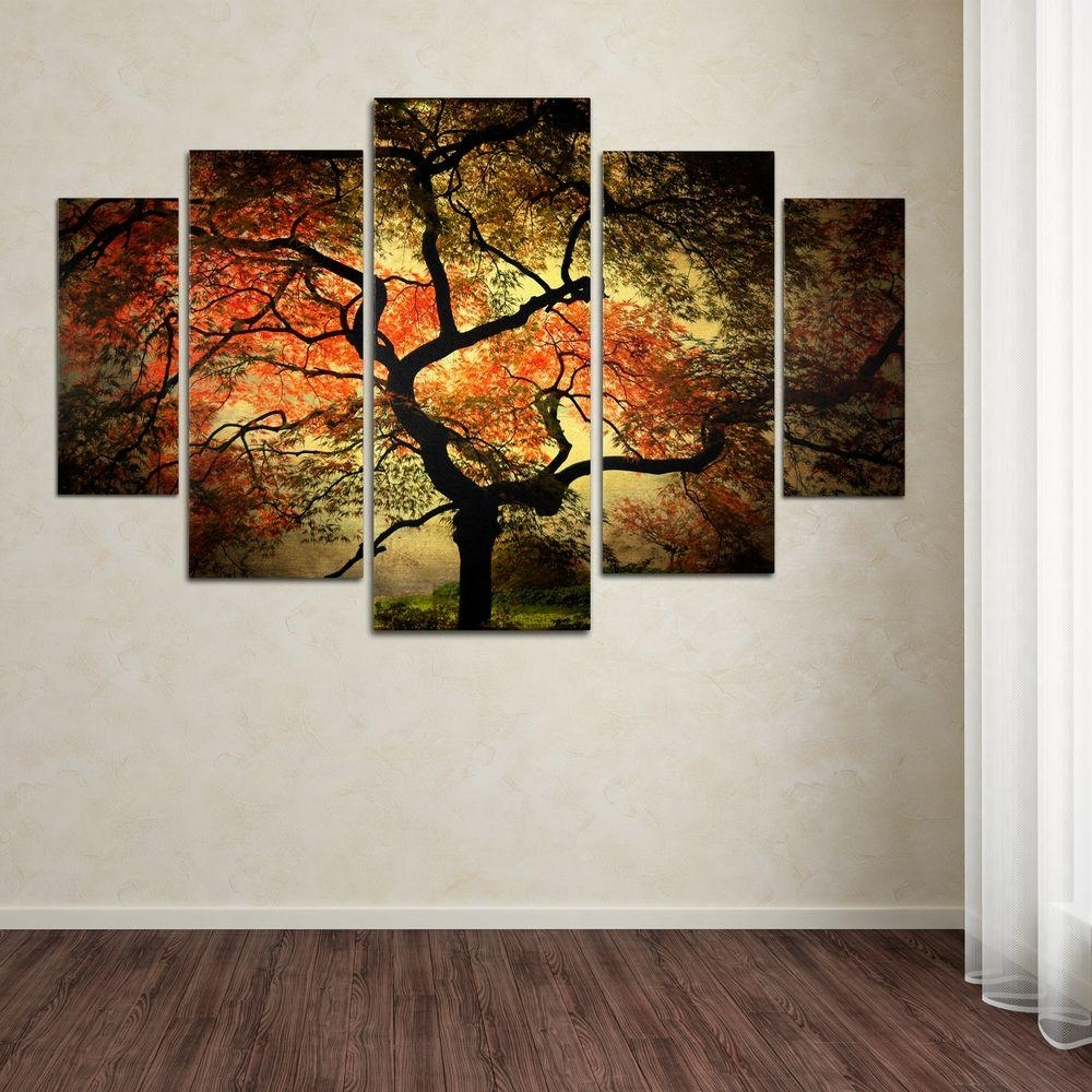 Recent Trademark Fine Art Japanesephilippe Sainte Laudy 5 Panel Wall In Canvas Wall Art Of Trees (View 12 of 15)