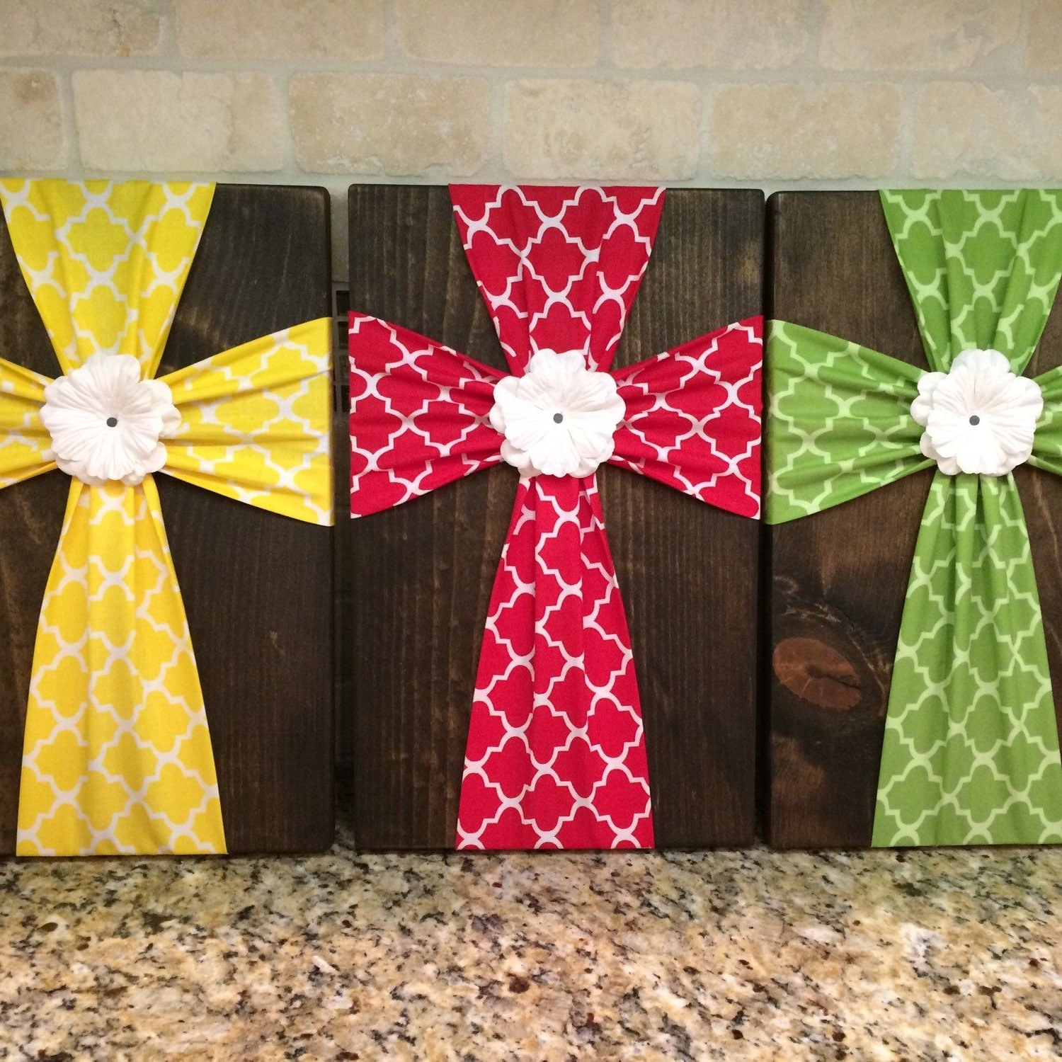 Recent Wall Art – Fabric Cross On Wood Plaque With Flower Embellishment For Fabric Cross Wall Art (View 13 of 15)