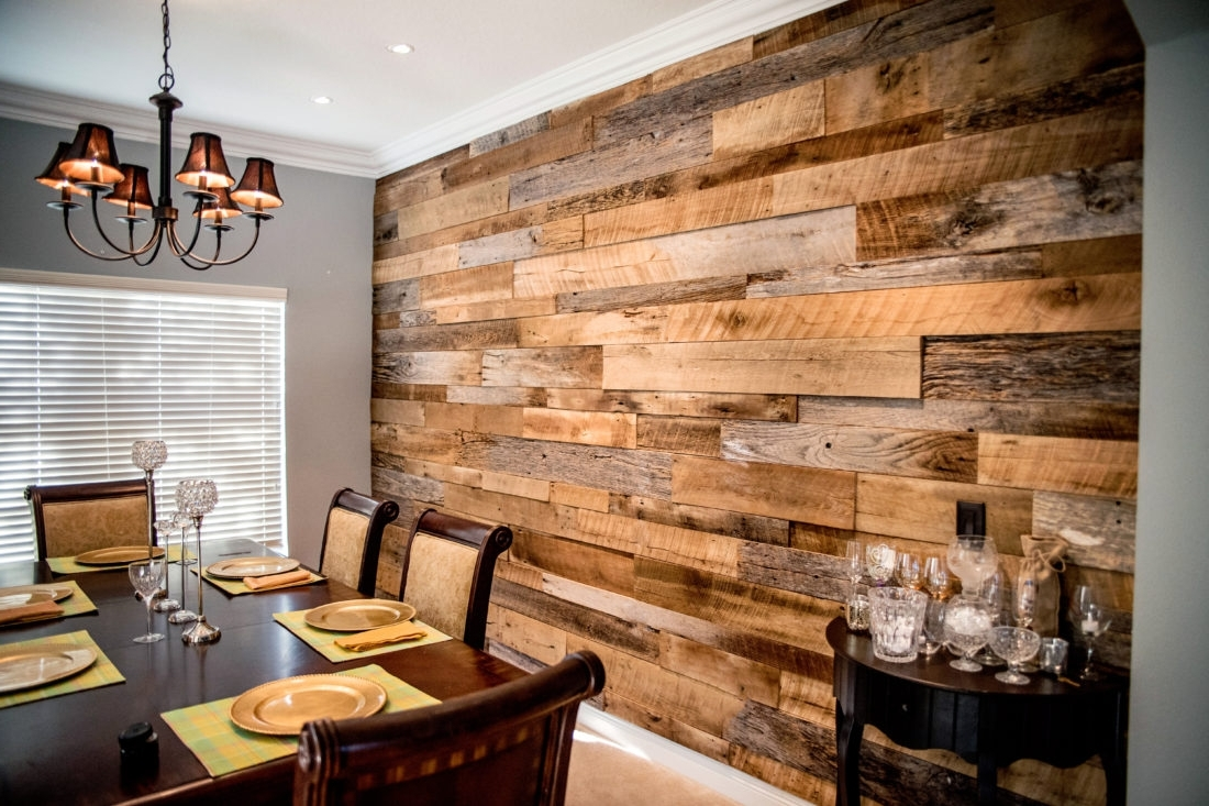 Reclaimed Wood Wall Accents With Favorite The Hughes' Dining Room Reclaimed Wood Accent Wall (View 11 of 15)