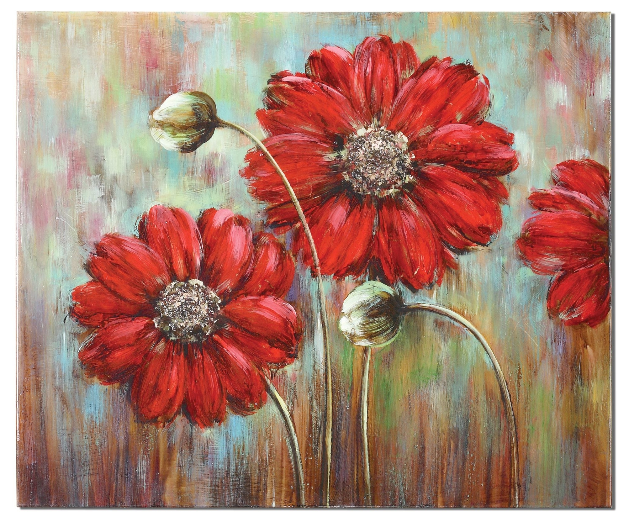 Red Flowers Canvas Wall Art Inside Most Current Shining Stars Floral Painting On Canvas Red Flower Wall Art Home (Gallery 2 of 15)