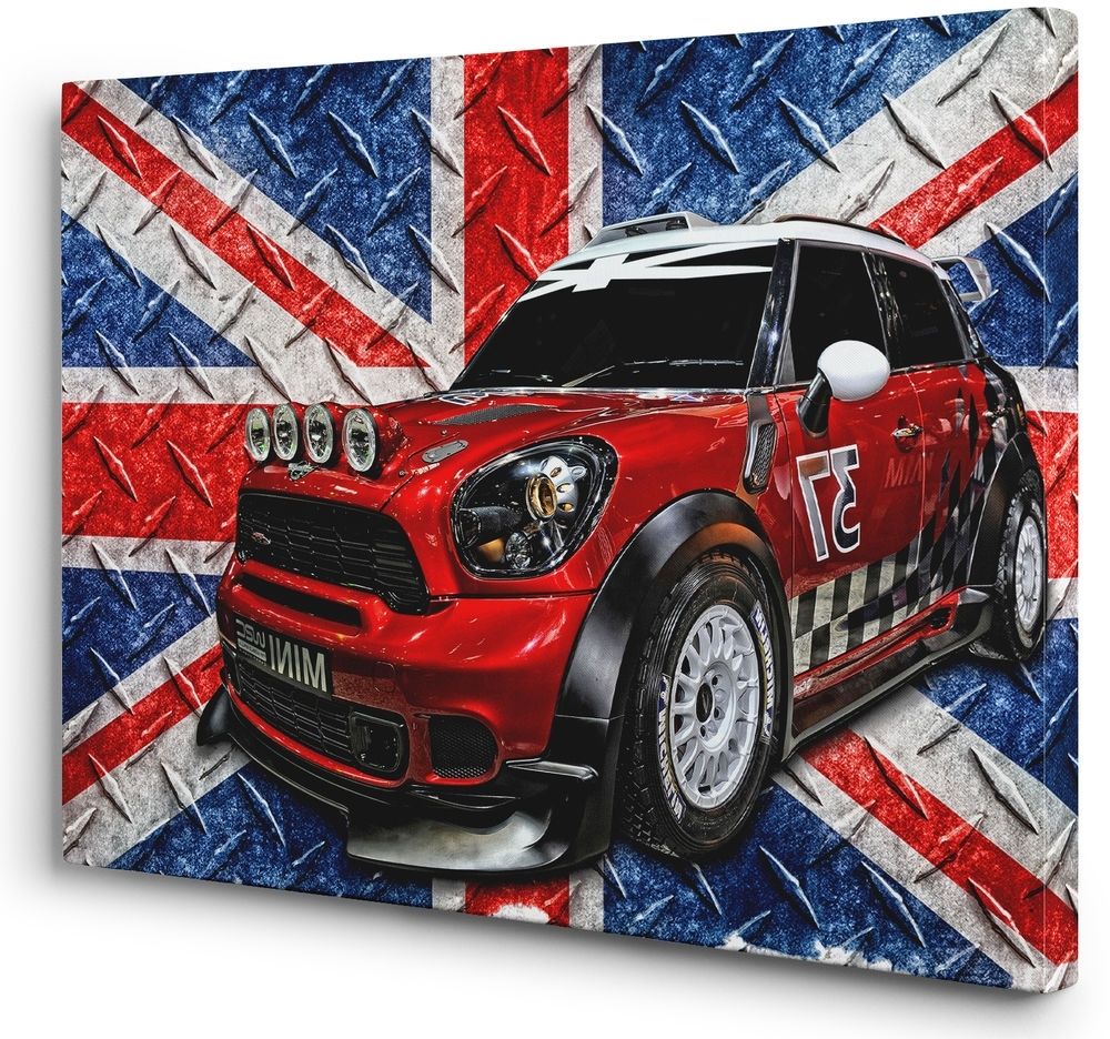 Red White Blue Mini Cooper Car Canvas Print Union Jack Flag Wall Intended For Most Current Union Jack Canvas Wall Art (View 6 of 15)