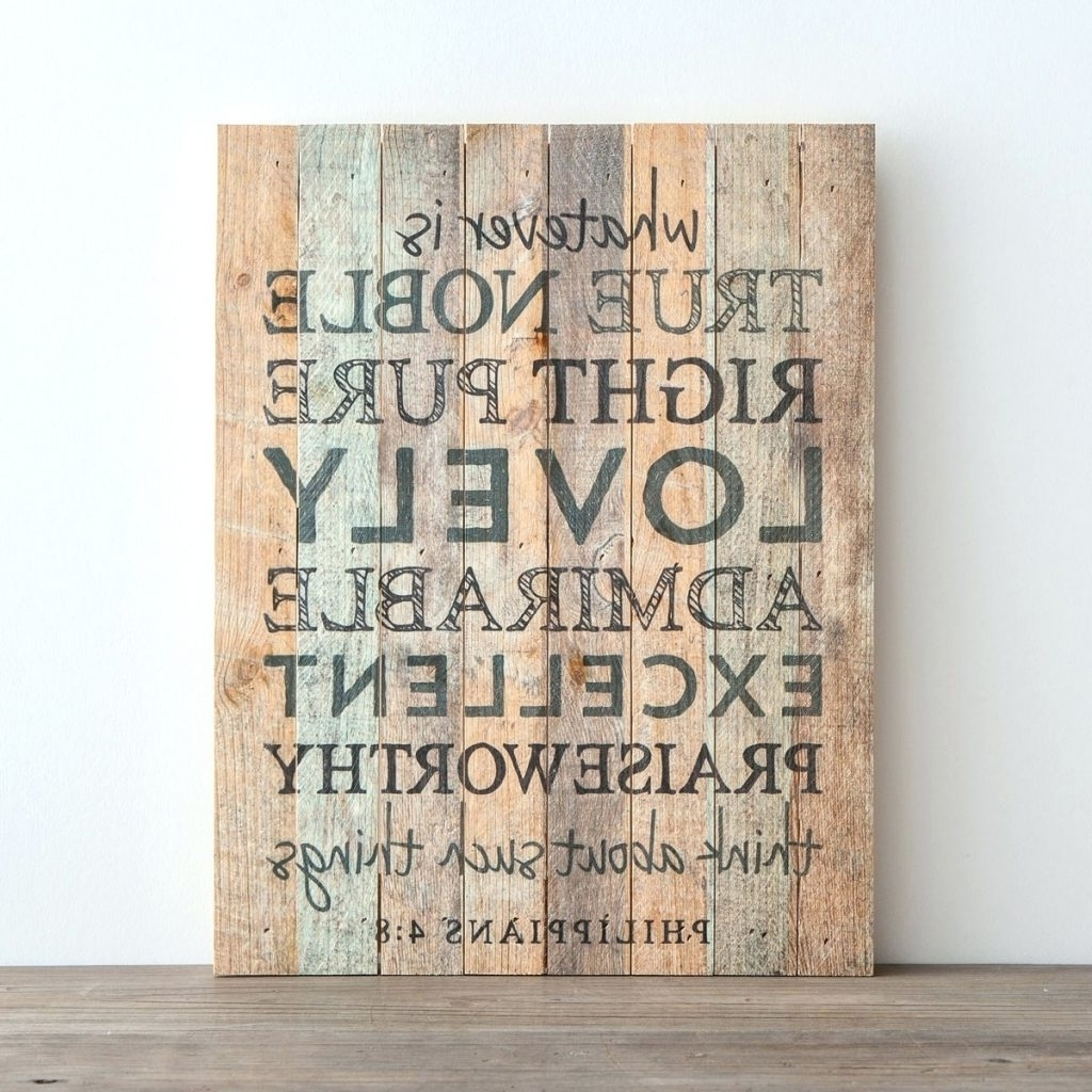 Religious Canvas Wall Art With Most Current Wall Arts ~ Whatever Is True Plank Wall Art Religious Wall Art (View 9 of 15)