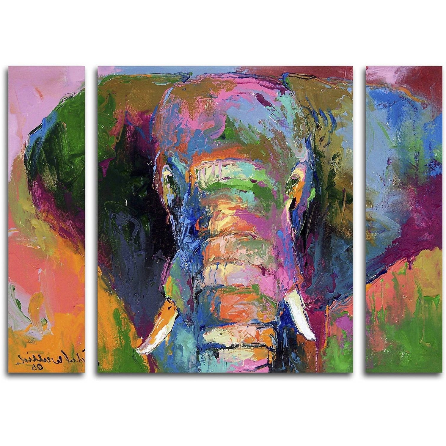 "Richard Wallich ""elephant 2"" Multi Panel Art Set – Walmart With Regard To Famous Canvas Wall Art In Purple (Gallery 10 of 15)"