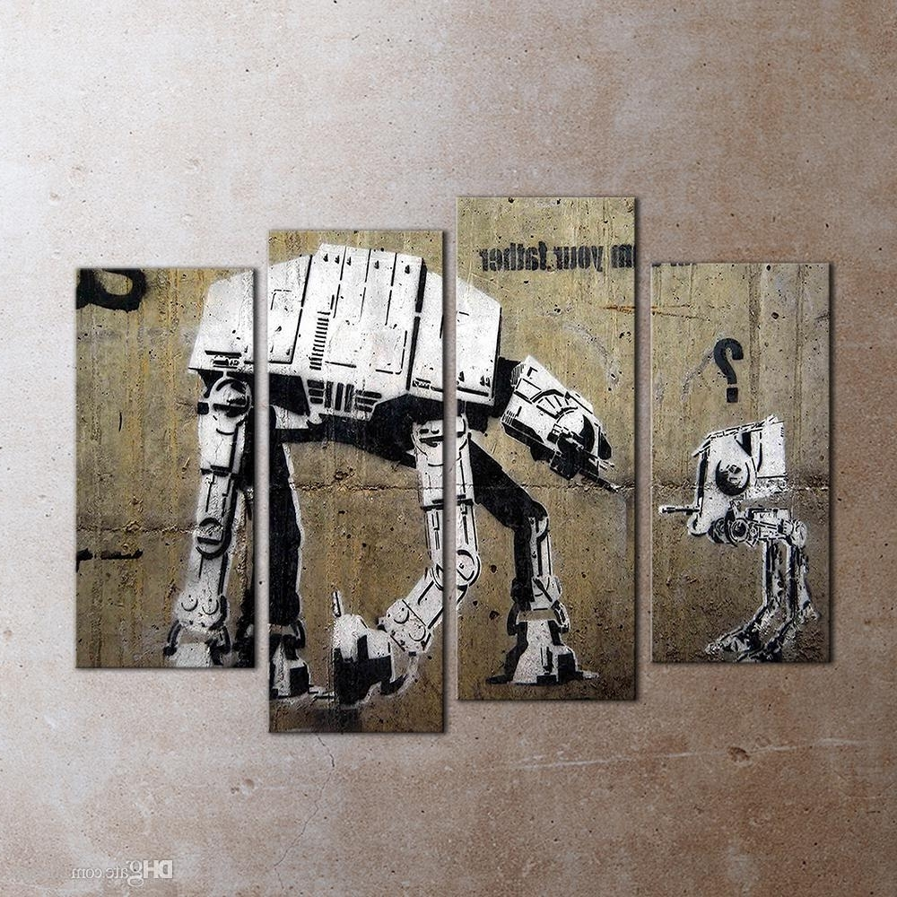 Robot Canvas Wall Art For Newest 2018 Modern 4 Panel Wall Art Painting Robot Canvas Wall Decorative (View 6 of 15)