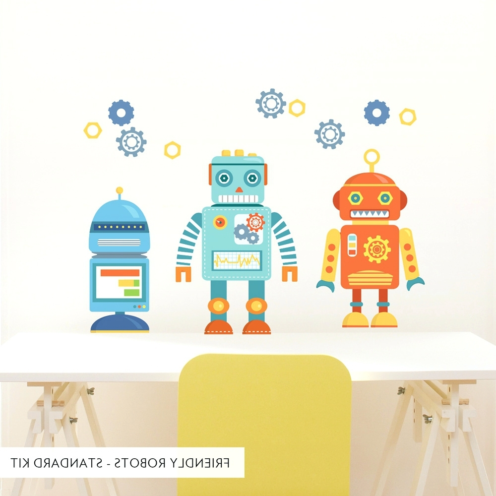 Robot Canvas Wall Art For Popular Wall Arts ~ Standard Friendly Robots Printed Wall Decal Robot (View 7 of 15)